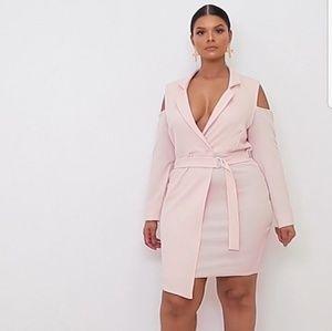 Nude Cold Shoulder Blazer Dress